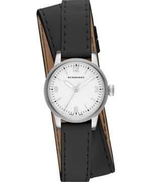 Burberry Utilitarian weiß Zifferblatt schwarz Leder Damen-Armbanduhr bu7845