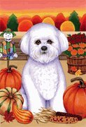 Bichon Frise – by Tomoyo Pitcher, Autumn Themed Dog Breed Flags 12 x 18 Review