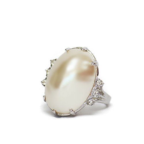 Providence Vintage Jewelry 1970's Mabe Pearl Bead 18k White Gold Electroplated Clear Swarovski - Ring Mabe Gold Pearl