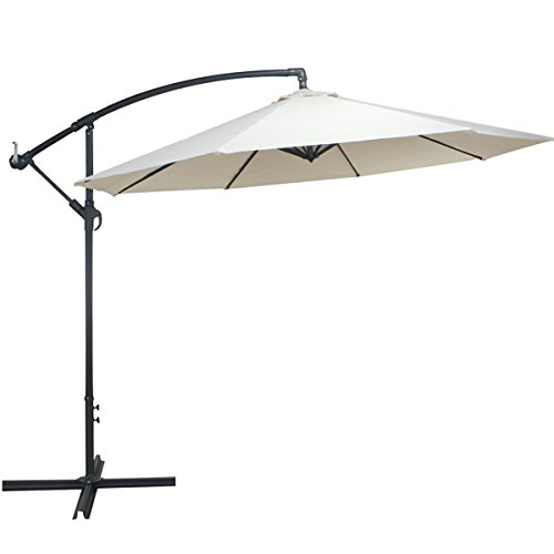 Cloud Mountain 10 Feet Cantilever Patio Umbrella Cantilever Offset Beach Umbrellas Outdoor UV Resistant Polyester 8 Steel Ribs Beach Hanging Offset Patio Umbrellas with Cross Stand, Beige