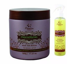 Brazilian SOS BTX Macadamia Hair Mask Natural Oil 500ml + Serum 250ML Floractive by Floractive Professional