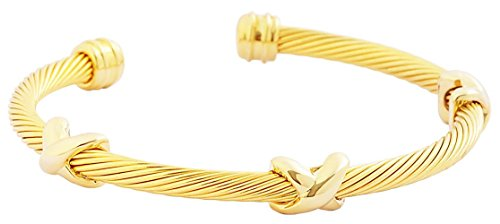 (EDFORCE Stainless Steel Women's Bangle Bracelet Cuff Celtic Gold Twisted Rope Cable Linking Accents Gold with Gold Motifs, 58mm (2.28in) (Universal Fit))