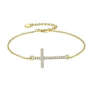 Joeyan Pulsera de Cruz Cristal Pulseras de Cadena Oro Mujer Joeyan Pulsera de Cruz Cristal Pulseras de Cadena Oro Mujer Joeyan Pulsera de Cruz Cristal Pulseras de Cadena Oro Mujer