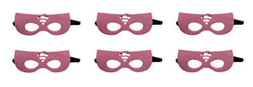 [Rush Dance Superhero Princess Kids Halloween Costumes, Party Favors - 6 MASKS (Light Pink] (Supergirl Costumes Pink)