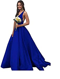 BBCbridal Women's V Neck Satin Prom Dresses Long Open Back Formal Evening Ball Gowns with Pockets