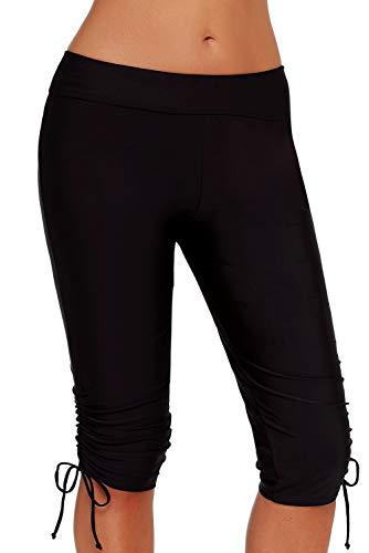 BLOOMMY Women Swim Shorts UPF50+ Rash Guard, Tankini Boardshorts Bike Sport Swim Bottoms Tie Pants