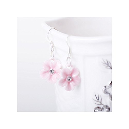 Winter's Secret Handmade Ceramic Diamond Studded Pink Flower Dangle Earring ()