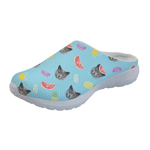 Coloranimal Air Mesh Quick Dry Garden Clogs Shoes for Women Girls Kawaii Cat with Fruits Printed Backless Memory Foam Sandals Outdoor Beach Slippers (Best Fruit For Memory)