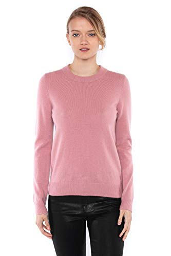 JENNIE LIU Women's 100% Pure Cashmere Long Sleeve Crew Neck Sweater(M, Blush)