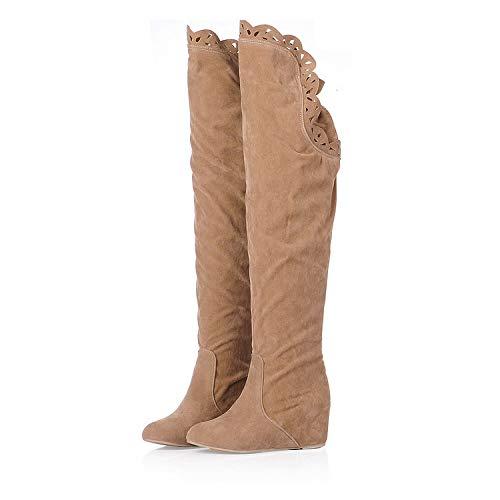 Punta Snow Neve Sopra 2018 Boots Nuovo Alti Stivali Inverno Invernali Tonda Il Tacco Ampia Autunno Donna Stivaletti Ginocchio Fit Con Pelliccia qAxnPxU