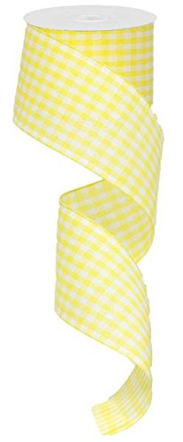 Gingham Check Wired Edge Ribbon, 2.5