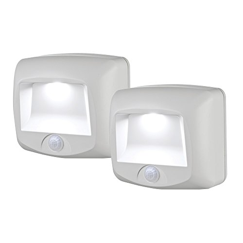 Mr Beams MB532 Wireless Battery-Operated Indoor/Outdoor Motion-Sensing LED Step/Stair Light, 2-Pack, White]()