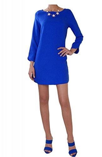 Humble Chic Women's Lola Shift Dress - Royal Blue - SMALL - Long Sleeve Zip Back Sheath