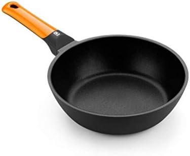 BRA Efficient Orange Sartén honda 28 cm, aluminio fundido con antiadherente Platinum Plus, apta para todo tipo de cocinas incluida inducción, libre de PFOA,