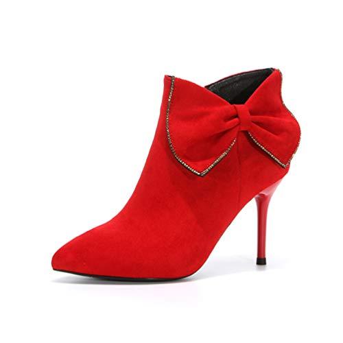 Short Short Elegante Elegante Elegante JITIAN da Scarpe Donna Alto Aghi Stivali Rosso Tacco Boot Stivali Zip Nodo Punte zznUR7T