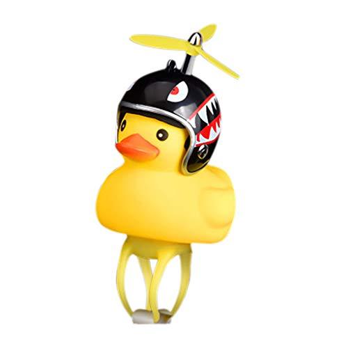 ALOVEMO Bike Horn,Cute Cartoon Yellow Little Duck Shape Bicycle Lights Bell,Squeeze Horns for Toddler Children & Adults Cycling Light Rubber Duck Helmet Toys (F)