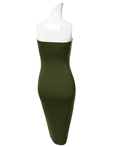 Dress DRESSIS Strapless Tube Bodycon Midi olive Womens Stretchy Awdtd039 1SgwqPYx