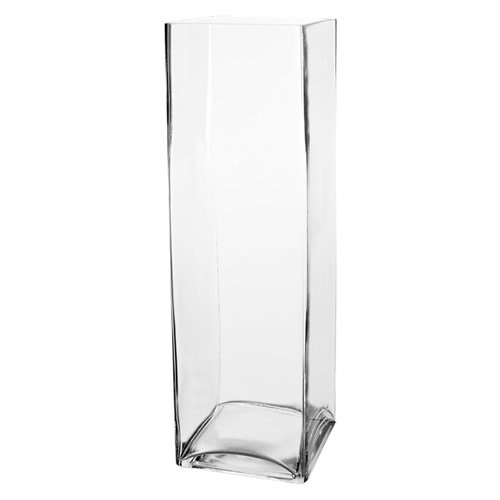 CYS Glass Square Vase Hand Blown. H-16
