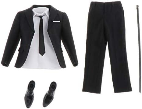 Hellery 1/6スケール 男性フィギュア用 スーツ シャツ ネクタイ ベルト 靴 フォーマル ビジネス飾り 黒