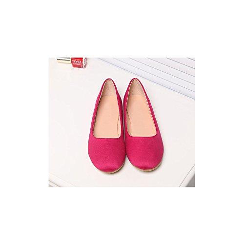 OCHENTA Bailarinas Mujer Plano Moda Simple Casual Rosa Rojo