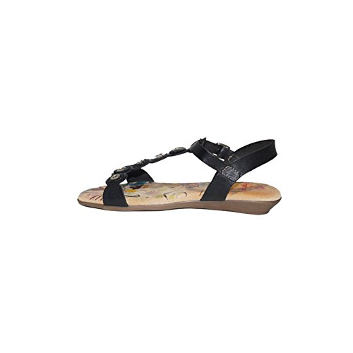 2018 Negro Piel nbsp;Zapatos Hembra Color Casual Sandalias Confort Verano Cómodos Plana Hembra Verano Sandalia Negro 22 CIRCULOS H Playa 6WFqTw