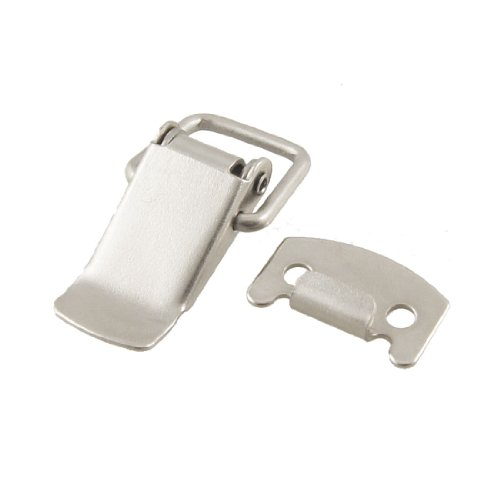 Uxcell a12031600ux0170 Silver Tone Metal Toggle Draw Latch Straight Loop Catch 1.6