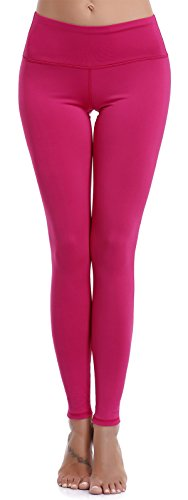 Aenlley Womens Athletic Yoga Pants with Hidden Pocket Workout Gym Spandex Tights Leggings Color Hotpink Size S