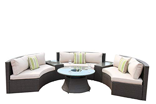 Direct Wicker 6-Piece Aluminum Frame Half Round Outdoor Curved Sectional Sofa Set with Wicker Table Cooler ()