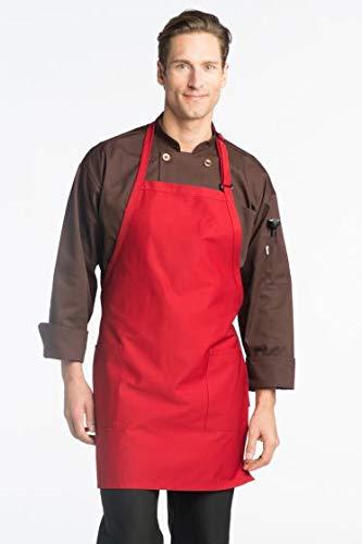 Uncommon Threads Unisex ADJ Bib Apron 2 Patch Pockets, Red, One - Uncommon Threads Chef