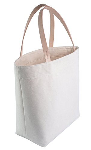 (Leather Strap Tote Bag (L NAT) - Canvas Minimalist Handbag with Rustic Full Grain Leather Straps - Made in USA.)