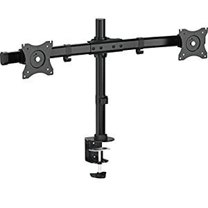 """VIVO Dual Monitor Curved Horizontal Array Desk Mount Stand fits Screens up to 27"""" (STAND-V002E)"""