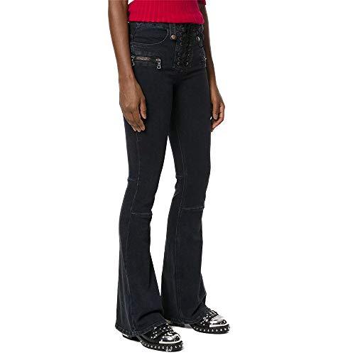 LJYASD Pantalones Acampanados Mezclilla Pantalones Lazo Umbral Elasticidad Apretado Puntadas Cintura Alta Cremallera Street Hipster Black