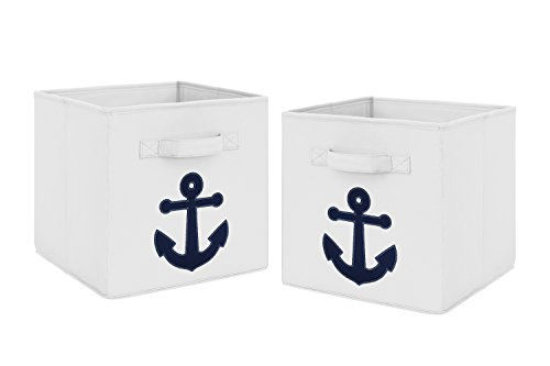Navy Blue Nautical Anchor Foldable Fabric Storage Cube Bins Boxes Organizer Toys Kids Baby Childrens for Anchors Away Collection by Sweet Jojo Designs - Set of -