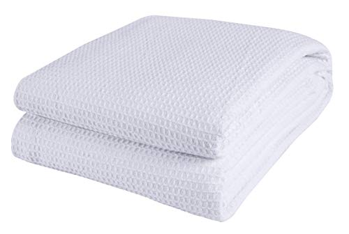 Cotton Clinic 100% Cotton Bed Blanket, Bed Blanket King Size, Cotton Thermal Blankets King Size, Perfect for Layering Any Bed for All Season, Soft and Breathable White Blanket