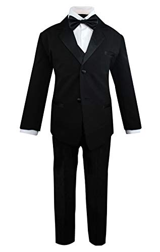 (Luca Gabriel Toddler Boys' 5 Piece Classic Fit Formal Suit Bowtie Set - Size 10 Black)
