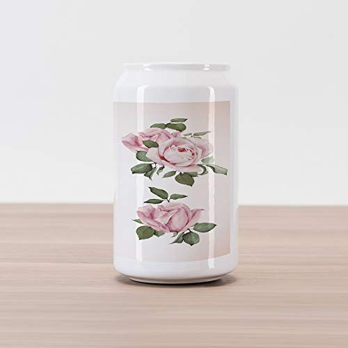 Lunarable Vintage Cola Can Shape Piggy Bank, Vintage Country Style Floral Roses Wreath Bouquet and Corsage Wildflowers Design, Ceramic Cola Shaped Coin Box Money Bank for Cash Saving, Pastel Pink