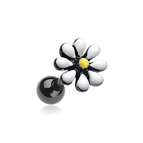 Blackline Spring Blossom Flower Cartilage Tragus - 18G (1mm) - Sold as a Pair