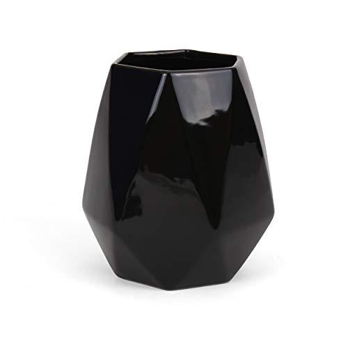 Ceramic Utensil Holder - Kitchen Utensil Holder - Utensil Crock - Utensil Caddy/Container - Milltown MerchantsTM Faceted Black Utensil -