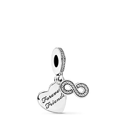 PANDORA Forever Friends Dangle Charm, Sterling Silver, Clear Cubic Zirconia, One Size (Best Sister Charms For Pandora Bracelets)