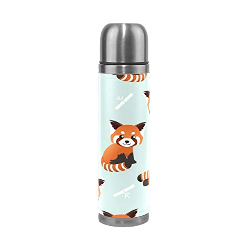 FOLPPLY Red Panda Pattern Stainless Steel Water Bottle Vacuum Thermos Cup Leak Proof Insulated Travel Coffee Mug 17 oz