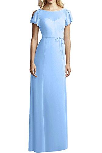 MILANO BRIDE Concise Bridesmaid Dress Prom Dress Floor-Length A-line Sash-6-Light Sky - Floor Sash Length