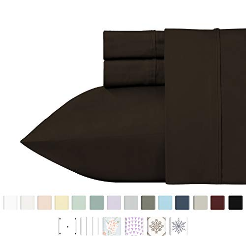 400 Thread Count 100% Cotton Sheets, Chocolate Brown Queen Size Sheet Set, Highest Quality Long-staple Combed Pure Natural Cotton Bed Sheets, Soft Sateen Sheets Fits Mattress Upto 18'' Deep Pocket