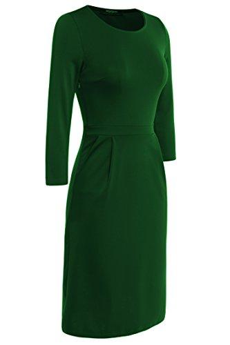 Verde Para Vestido Zeagoo Oscuro Trapecio Mujer Fn8wPH