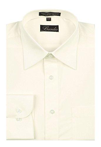 Basilio BAS-OFFWTE-165-34 - Men's Convertible Cuff Solid Dress Shirt