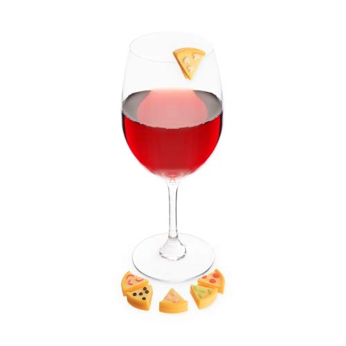 Truefabrications Cute Drink Markers Women Assorted Pizza Slice Charms for Wine Glass - Set of 12 (Sold by Case, Pack of 12)