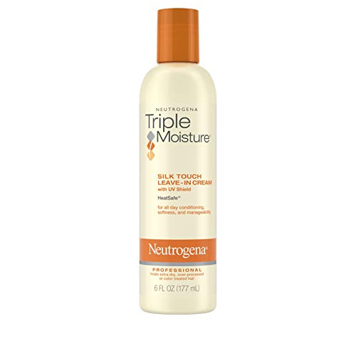Neutrogena Triple Moisture Silk Touch Leave-In Cream Conditioner for Extra Dry Hair, Damaged & Over-Processed Hair, Hydrating with Olive, Meadowfoam & Sweet Almond, 6 fl. Oz (Pack of 3)
