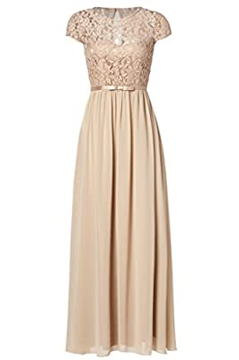 Ssyiz Custom Womens Vintage Floral Lace Cap Sleeve Long Chiffon Bridesmaid Evening Dress