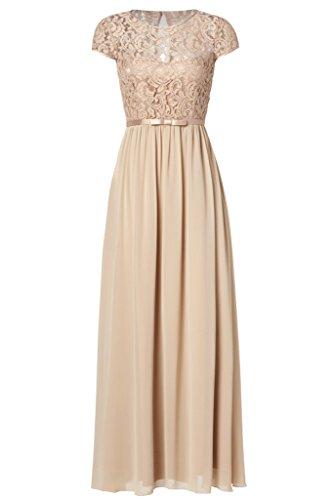 Ssyiz Custom Women's Vintage Floral Lace Cap Sleeve Long Chiffon Bridesmaid Evening Dress