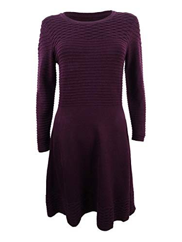 Jessica Howard Women's Petite Fit & Flare Sweater Dress (PM, Wine)