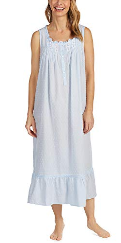 Eileen West Cotton Swiss Dot Long Sleeveless Nightgown - Baby Blue (Light Blue, X-Large)